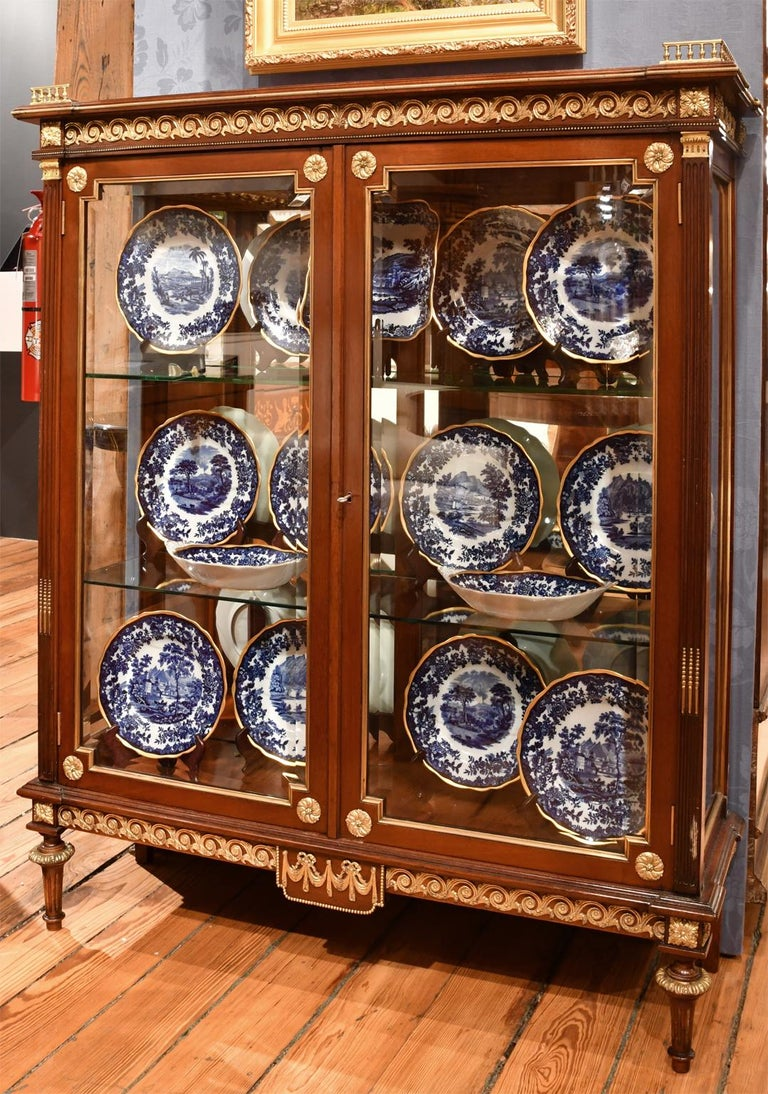 American NYC Gilded Age Louis XVI Style Display Cabinet, Attributable to Leon Marcotte For Sale