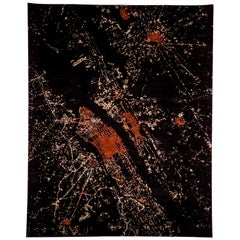 Black Red Wool Silk Modern Hand Knotted Rug 8x10