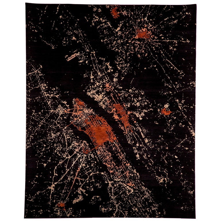 NYC, Hand Knotted Area Rug from New Zealand Wool, by Thirty Six Knots For Sale