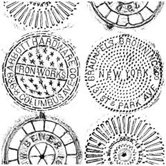 NYC Manhole Printed Wallpaper, Black on White Manhole Cover