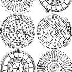NYC Manhole Printed Wallpaper-Black on White Manhole Cover