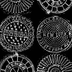 NYC Manhole Printed Wallpaper, White on Black Manhole Cover
