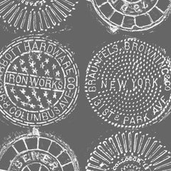 NYC Manhole Printed Wallpaper, White on Charcoal Manhole cover