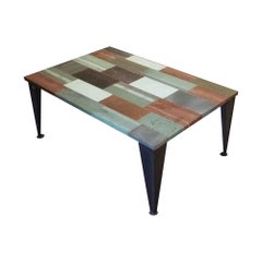 NYC Reclaimed Industrial Style Copper Patch Coffee Table with Steel Legs