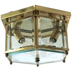 NYC Waldorf Astoria Hotel Brass and Beveled Glass Hexagon Flush Mount Light