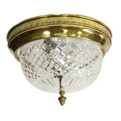 NYC Waldorf Astoria Hotel Cut Crystal Flush Mount with Decorative Brass Rim