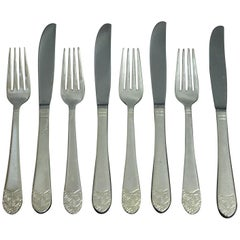 NYC Waldorf Astoria Hotel Silver Plated Eight Piece Dinner Knife & Fork Set
