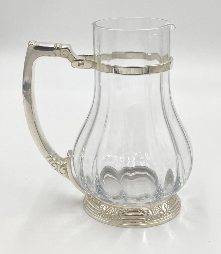 Silvered NYC Waldorf Astoria Hotel Silver Plated Water Pitcher Art Deco Style For Sale