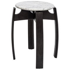 Nymph Wood Side Table Large Version, Ebonized Oak with Marble Top Contemporary