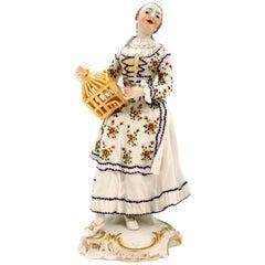 Nymphenburg Frankenthal Figurine 'Lady With Bird Cage' by Johann Friedrich Lück