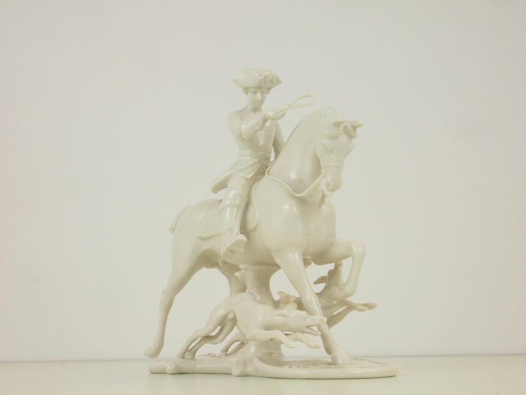 Nymphenburg Porcelain Figurine Depicting a Horse Rider in a Hunting Scene For Sale 4