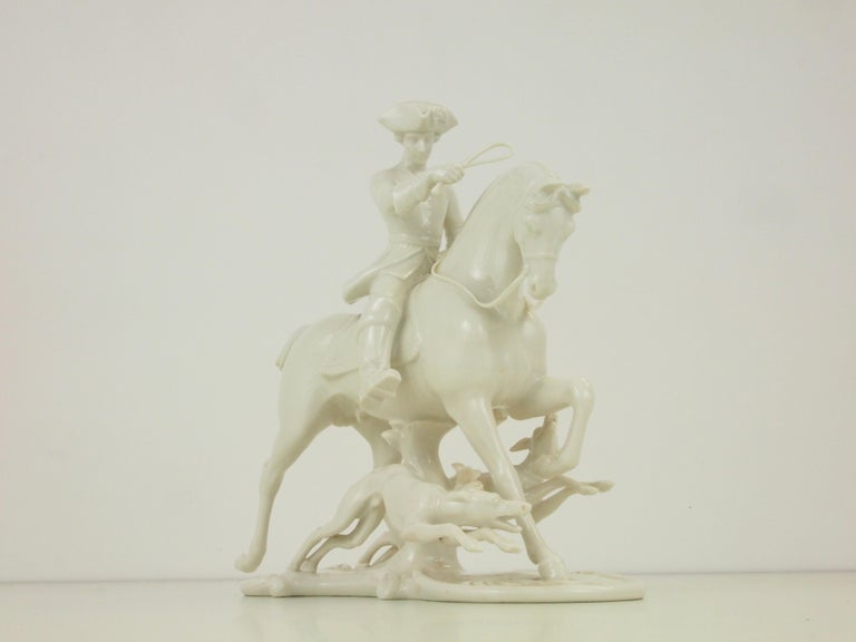 Nymphenburg Porcelain Figurine Depicting a Horse Rider in a Hunting Scene For Sale 5