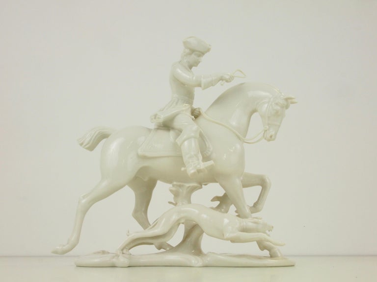 Nymphenburg Porcelain Figurine Depicting a Horse Rider in a Hunting Scene For Sale 6