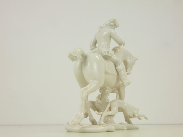 Nymphenburg Porcelain Figurine Depicting a Horse Rider in a Hunting Scene For Sale 7