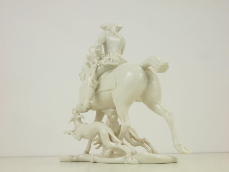 Nymphenburg Porcelain Figurine Depicting a Horse Rider in a Hunting Scene For Sale 8