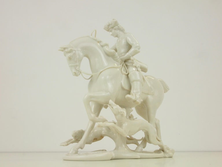 Nymphenburg Porcelain Figurine Depicting a Horse Rider in a Hunting Scene For Sale 9