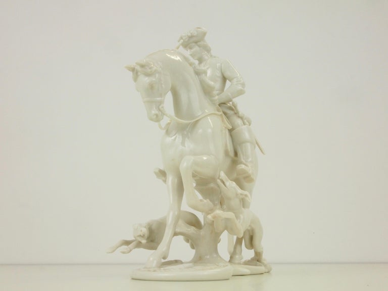 Nymphenburg Porcelain Figurine Depicting a Horse Rider in a Hunting Scene For Sale 10