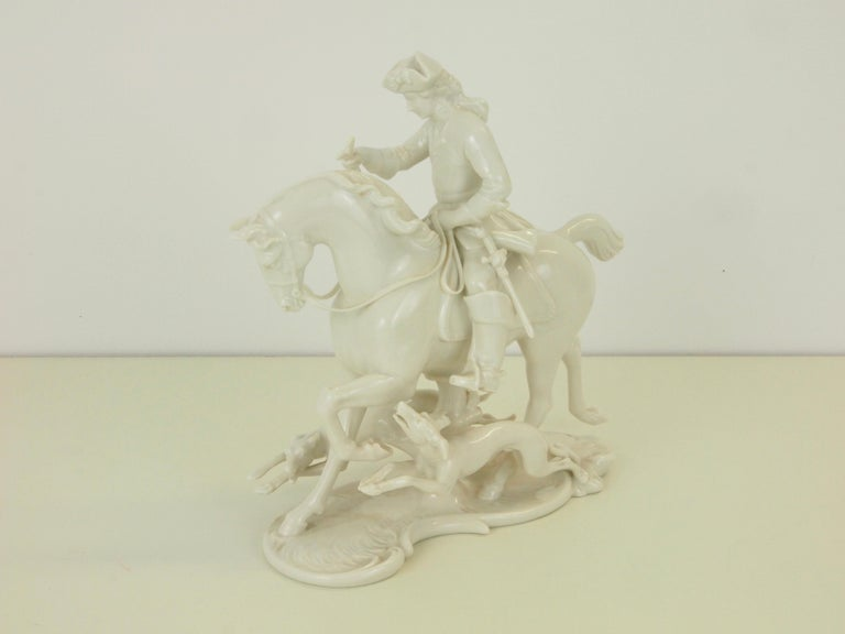 Nymphenburg Porcelain Figurine Depicting a Horse Rider in a Hunting Scene For Sale 11
