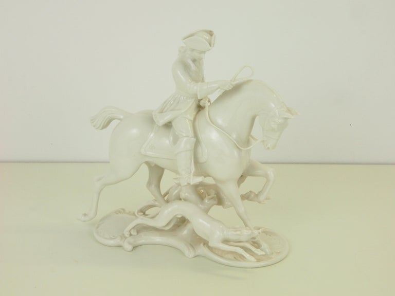Nymphenburg Porcelain Figurine Depicting a Horse Rider in a Hunting Scene For Sale 12