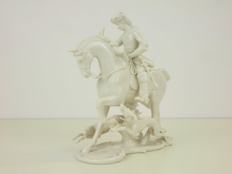 Nymphenburg Porcelain Figurine Depicting a Horse Rider in a Hunting Scene For Sale 1
