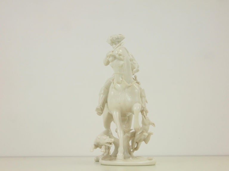 Nymphenburg Porcelain Figurine Depicting a Horse Rider in a Hunting Scene For Sale 3