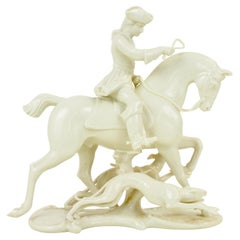 Nymphenburg Porcelain Figurine Depicting a Horse Rider in a Hunting Scene