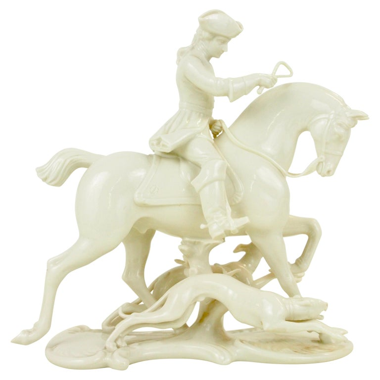 Nymphenburg Porcelain Figurine Depicting a Horse Rider in a Hunting Scene For Sale