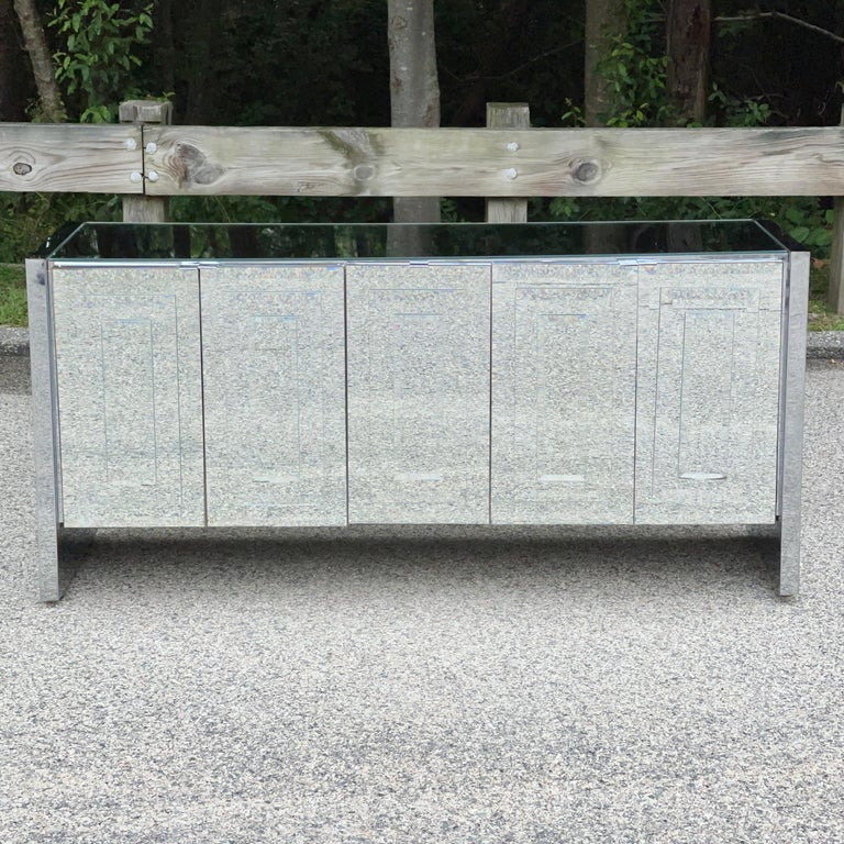 Glamorous mirrored credenza buffet cabinet designed by O. B. Solie for Ello in the 1970's as part of their successful