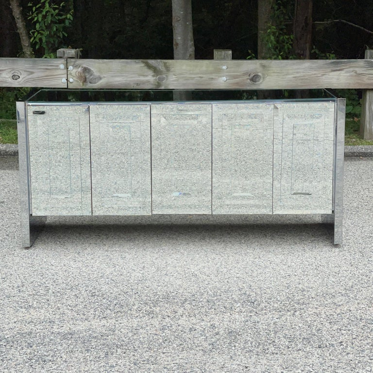 Hollywood Regency O. B. Solie for Ello Mirrored Five Door Sideboard For Sale