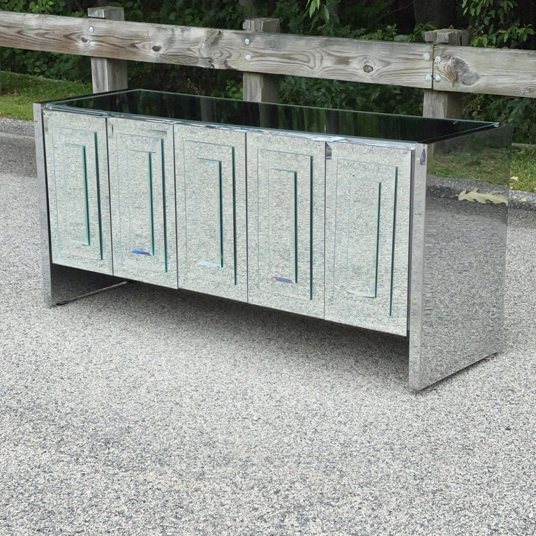 American O. B. Solie for Ello Mirrored Five Door Sideboard For Sale