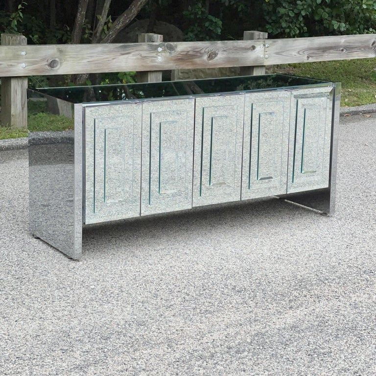 Beveled O. B. Solie for Ello Mirrored Five Door Sideboard For Sale