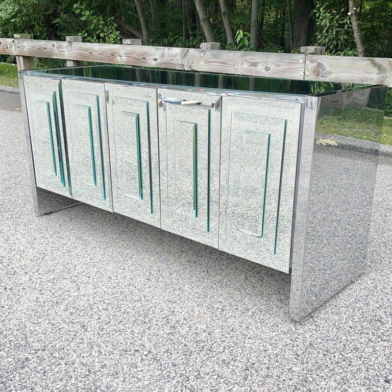 O. B. Solie for Ello Mirrored Five Door Sideboard In Good Condition For Sale In Hingham, MA