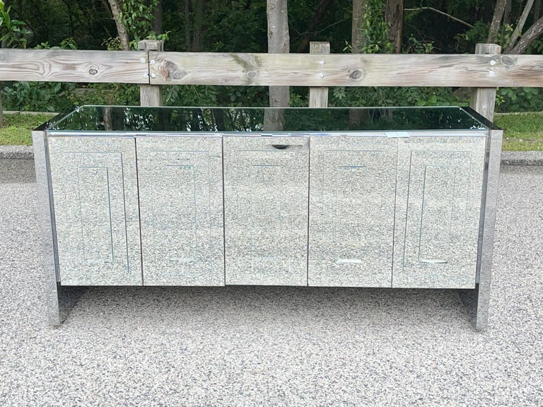 Late 20th Century O. B. Solie for Ello Mirrored Five Door Sideboard For Sale