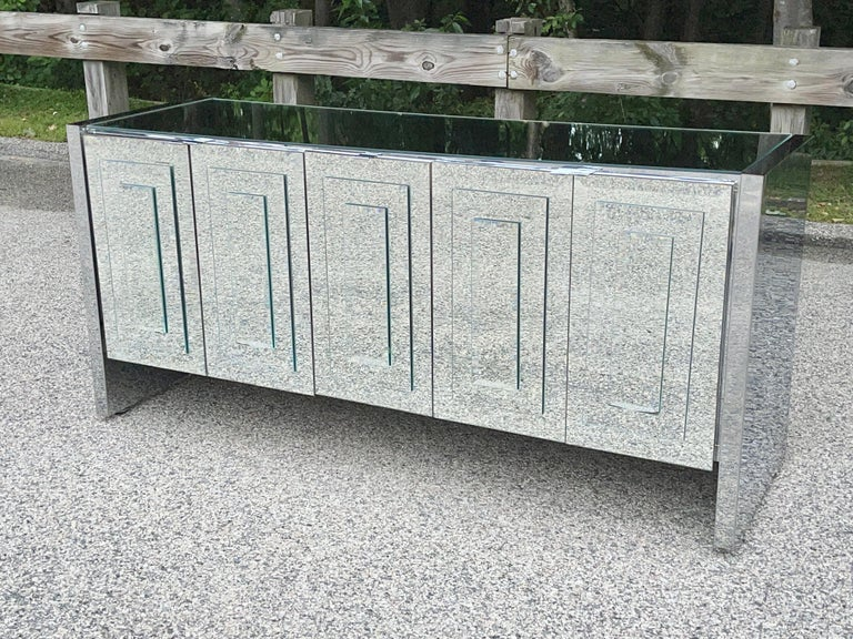 Stainless Steel O. B. Solie for Ello Mirrored Five Door Sideboard For Sale