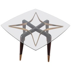 O. Borsani Midcentury Brass and Wood Square Coffee Table Glass Top, Italy, 1950s
