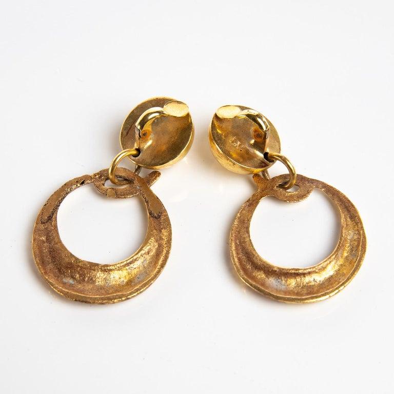 Mid-Century Modern O Comme Oreille, Pair of Earrings in Gilded Bronze, Line Vautrin 'France' For Sale