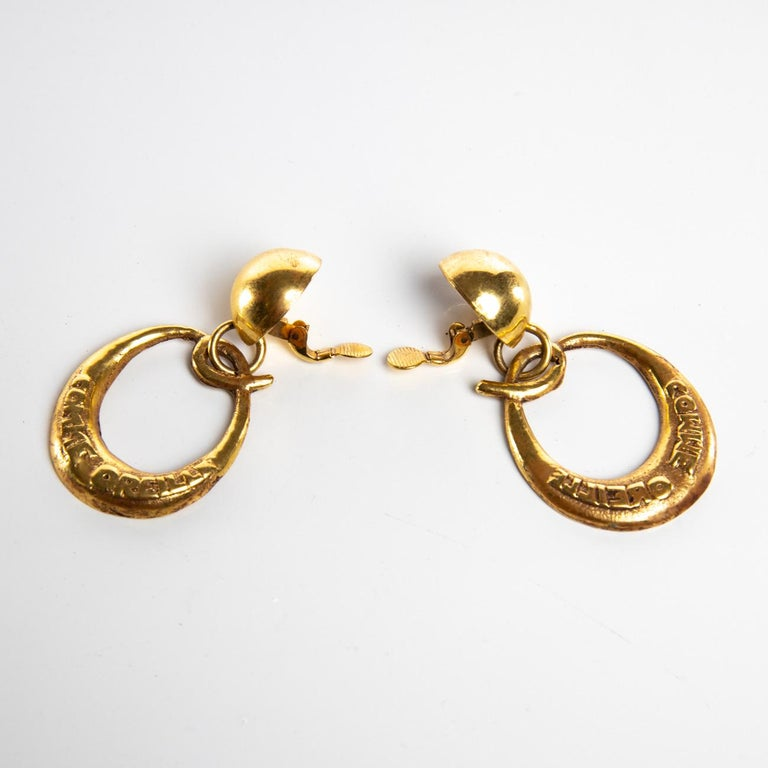 French O Comme Oreille, Pair of Earrings in Gilded Bronze, Line Vautrin 'France' For Sale