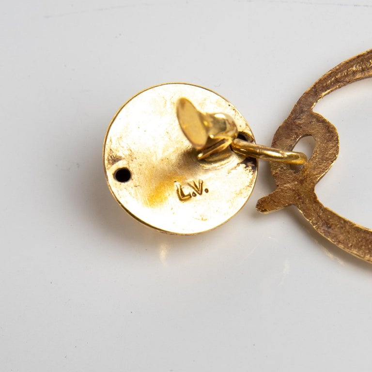 Mid-20th Century O Comme Oreille, Pair of Earrings in Gilded Bronze, Line Vautrin 'France' For Sale