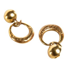 O Comme Oreille, Pair of Earrings in Gilded Bronze, Line Vautrin 'France'