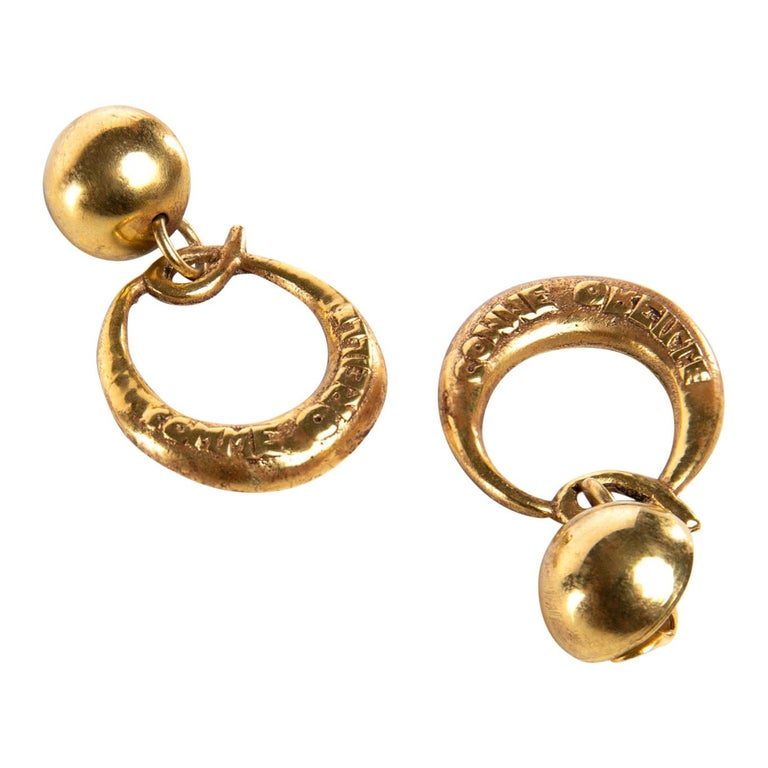 O Comme Oreille, Pair of Earrings in Gilded Bronze, Line Vautrin 'France' For Sale