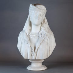 Italian Marble Bust of a Woman by O.Guasti