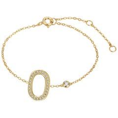 O Initial Bezel Chain Bracelet