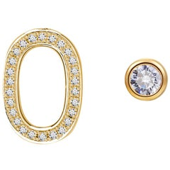 O Initial Bezel Mismatched Earrings