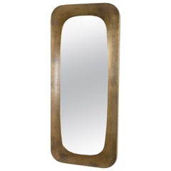 """""""O"""" Mirror, Brass, Full Length by Robert Kuo, Hand Repousse, Limited Edition"""