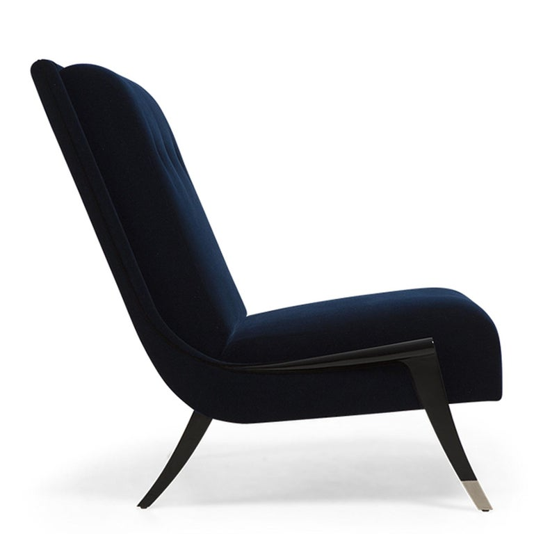 Hand-Crafted Oackland Armchair with Mahogany Structure and High Quality Blue Fabric For Sale