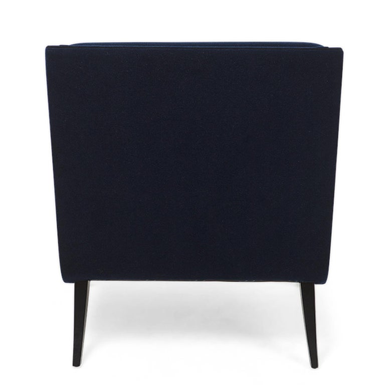 Oackland Armchair with Mahogany Structure and High Quality Blue Fabric For Sale 1