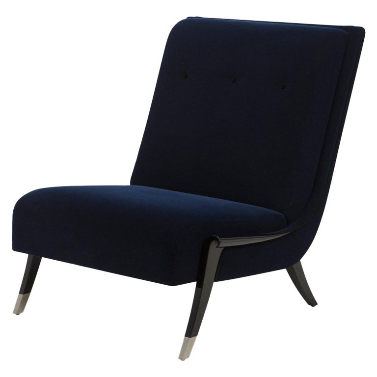 Oackland Armchair with Mahogany Structure and High Quality Blue Fabric For Sale