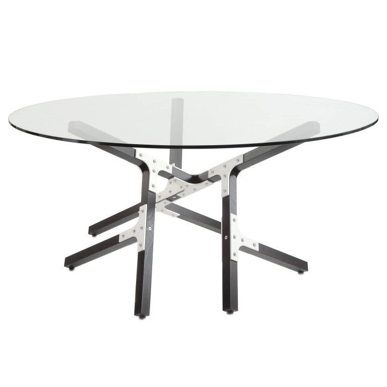Modern Industrial Dining Table with Round Glass Top Metal and Black Wood For Sale