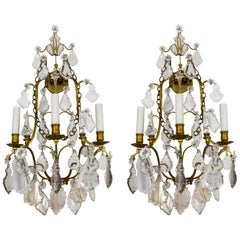 Crystal and Gilt Bronze 3-Light Belle Époque Sconces.