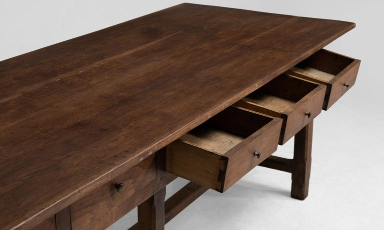 French Oak 12-Drawer Refectory Table For Sale